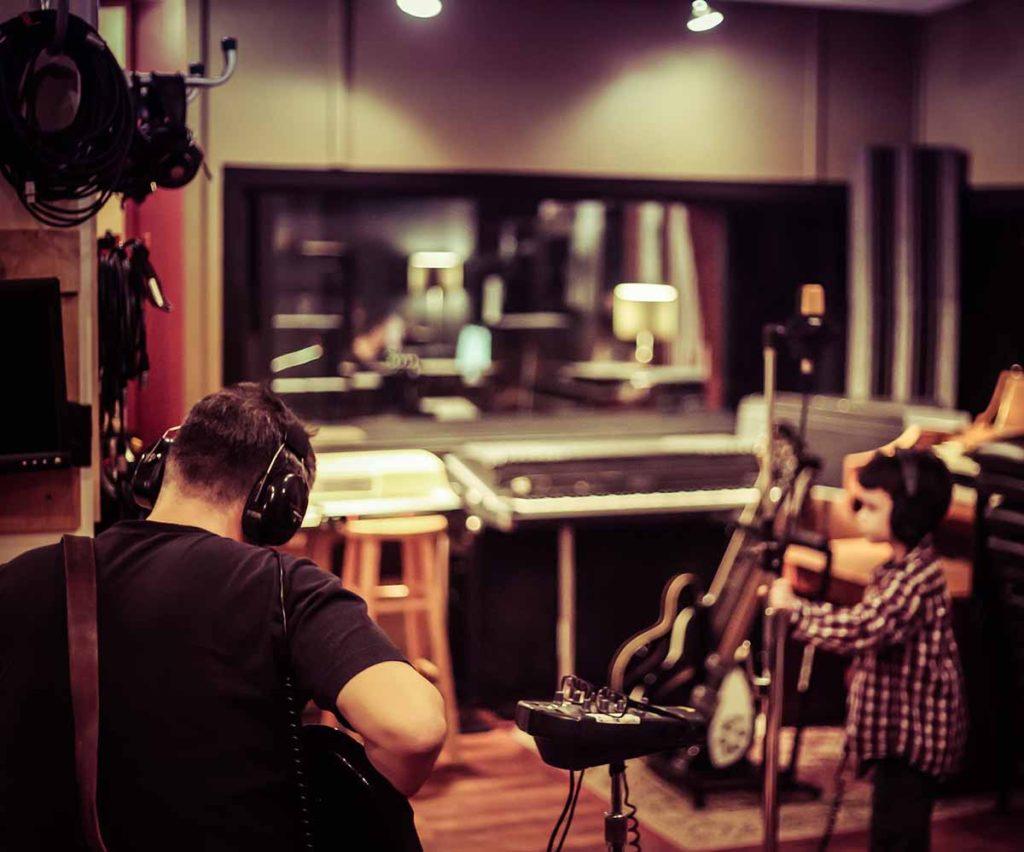 People in recording studio